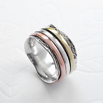 Sterling Silver Mixed Metal Spinning Waves Ring