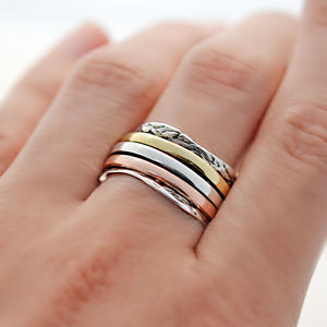 Sterling Silver Mixed Metal Spinning Waves Ring - women's jewellery