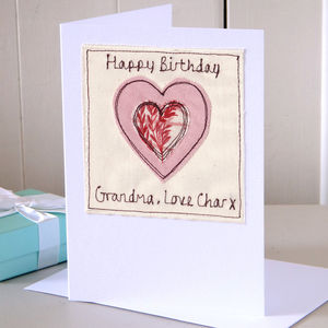 Personalised Embroidered Card For Grandma