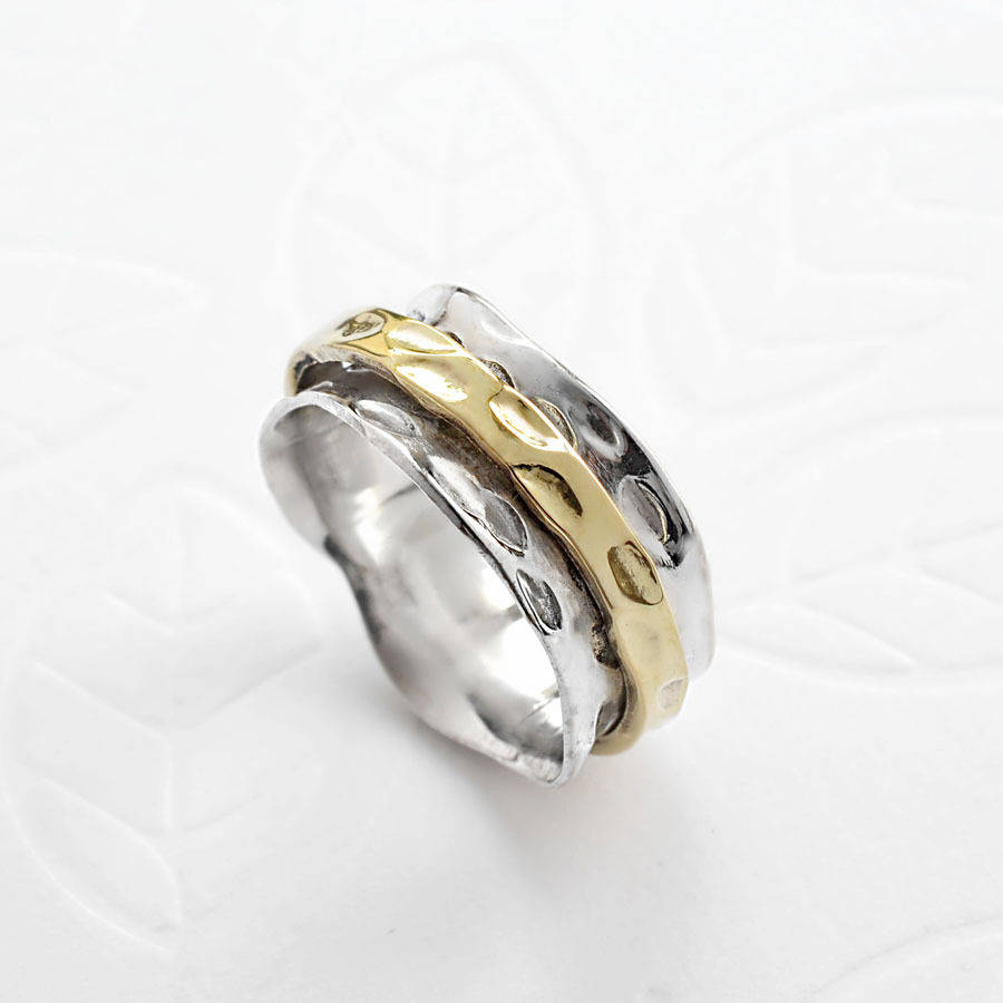 sterling silver mixed metal spinning leaf ring by martha