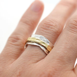 Sterling Silver Mixed Metal Spinning Leaf Ring - rings