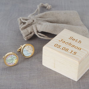 Personalised Gold Map Cufflinks And Cufflink Box - cufflink boxes & coin trays