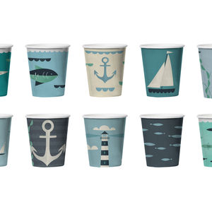 24 Ahoy Nautical Paper Cups - nautical necessities