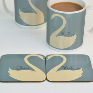 Personalised Swan Heart Coasters Pair - dining room
