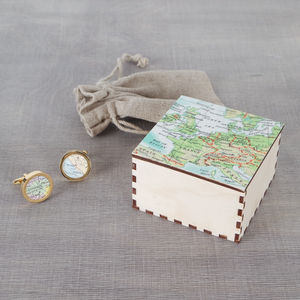 Personalised Map Gold Cufflinks And Map Cufflinks Box - bedroom