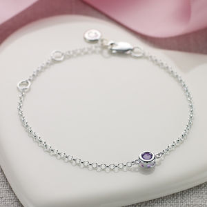 February Birthstone Bracelet - christening jewellery