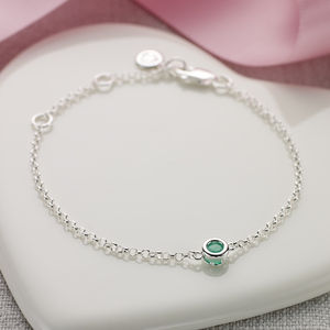 May Emerald Birthstone Bracelet - modern christening gifts
