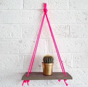 Concrete And Neon Hanging Shelf