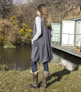 Alpaca Sleeveless Long A Line Cardigan