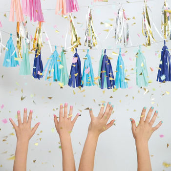 Blue Beaded Party Tassels Garland, Three Metres