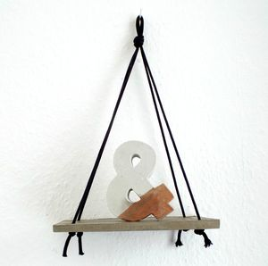 Concrete Hanging Shelf With Black Cord - furniture