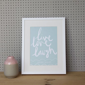 Personalised 'Live, Love, Laugh' Anniversary Print