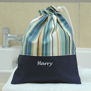 Boys Blue Striped Personalised Wash Bag