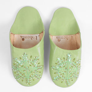Leather Sequin Babouche Slippers, Bright Collection