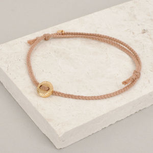 Gold Scalloped Button And Cord Bracelet - bracelets & bangles