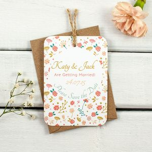 Country Floral Save The Date - cobalt and coral