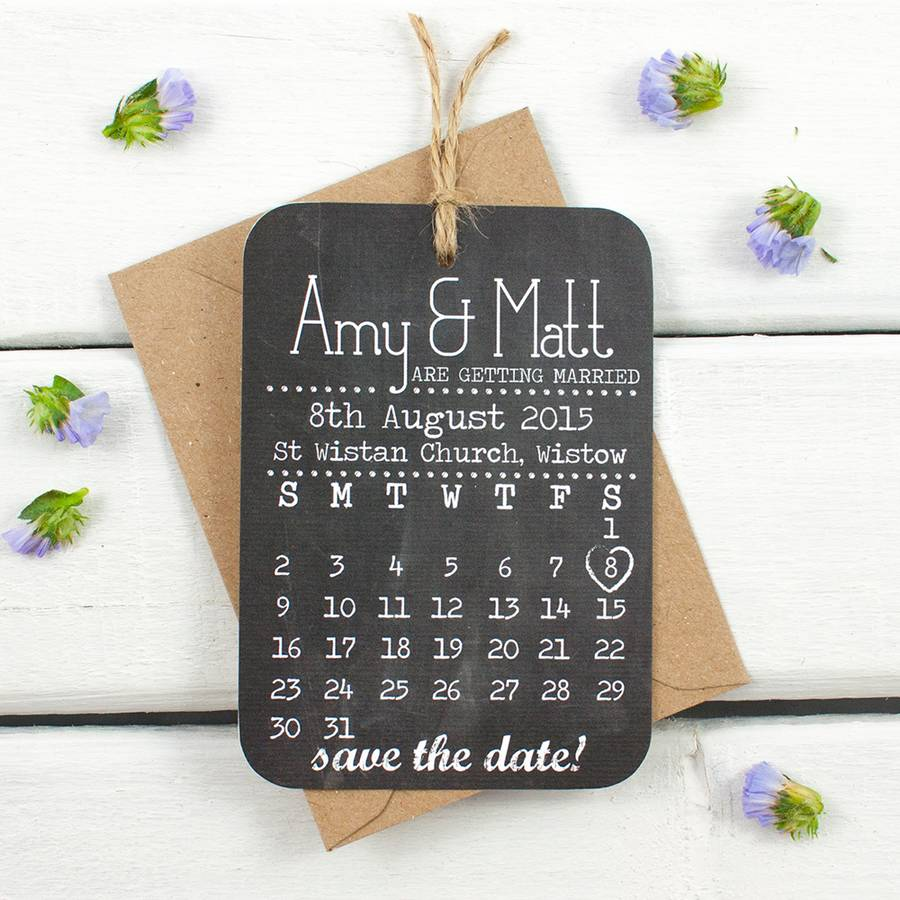 save the date cards chalkboard calendar by norma&dorothy ...