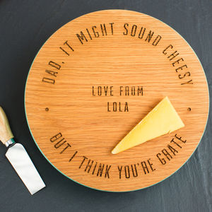 Personalised Engraved Dad's Oak Cheese Block - cheese boards & knives