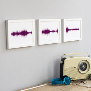 Trio Of Personalised Voice Or Song Prints - prints & art