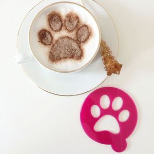 Pet Paw Print Coffee Stencil - coffee