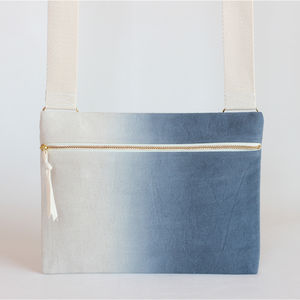 Midnight Blue Ombre, Dipdye Unisex Crossbody Bag - bags