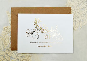 Flora Foiled Wedding Save The Date - rustic autumn wedding styling