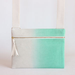Mint Green Ombre, Dipdye Unisex Crossbody Bag - cross-body bags
