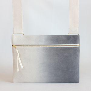 Charcoal Ombre, Dipdye Unisex Crossbody Bag - bags & purses