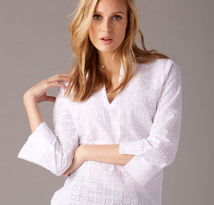 Cotton Broderie Anglaise Kaftan - women's fashion
