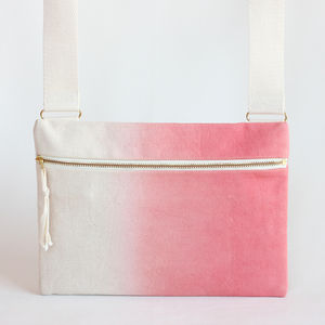 Coral Ombre, Dipdye Unisex Crossbody Bag