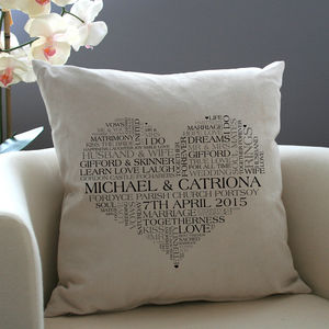 Personalised Heart Word Art Cushion