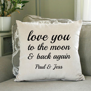 Personalised Love You To The Moon And Back Cushion - personalised cushions