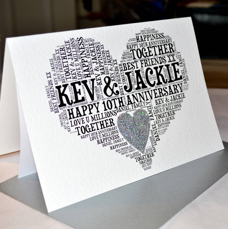 personalised 10th wedding anniversary love sparkle card by sew very
