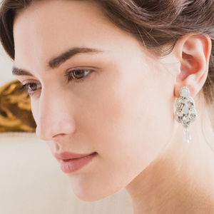 Deco Wedding Earrings With Opal And Crystal
