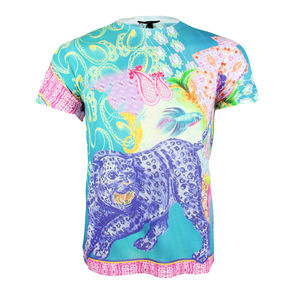 Unisex Blue Leopard Palm Tree Printed T Shirt Tee