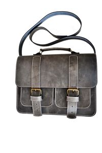 Grey Leather Satchel Bag - laptop bags & cases
