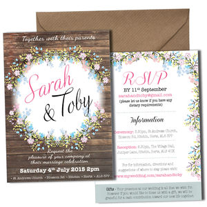 Personalised Floral Wedding Invitation - wedding stationery