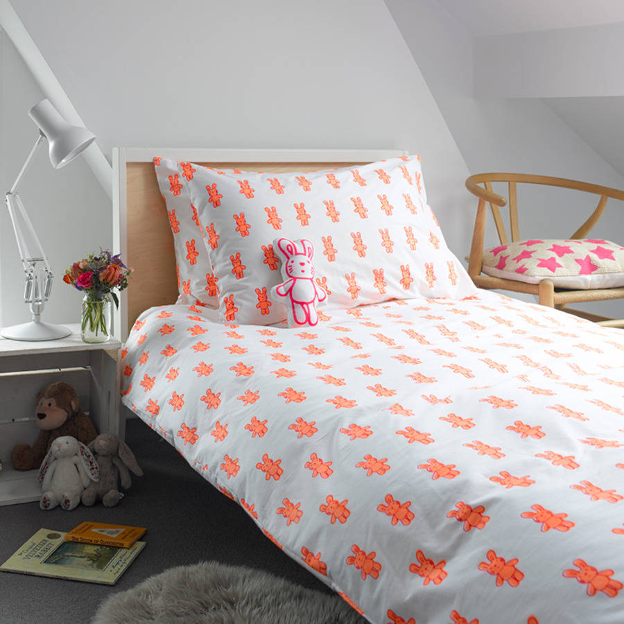 Pink Bunny Single Duvet Cover By Lulu And Nat