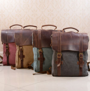 Canvas And Leather Foldover Backpack - bags & cases