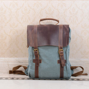 Canvas And Leather Foldover Backpack - gifts for him