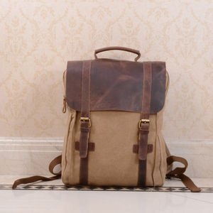 Canvas And Leather Foldover Backpack - frequent traveller