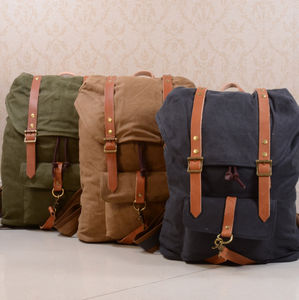 Canvas And Leather Strap Detail Backpack - backpacks