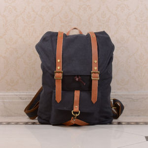 Canvas And Leather Strap Detail Backpack - men's accessories