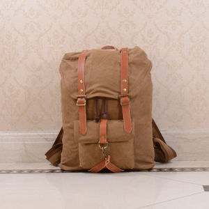 Canvas And Leather Strap Detail Backpack - gifts for him