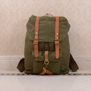 Canvas And Leather Strap Detail Backpack - birthday gifts