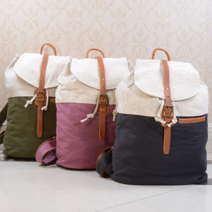 Canvas Colour Block Backpack - backpacks