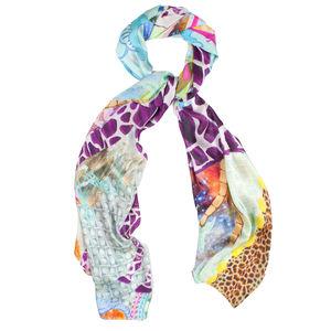 Silk Satin Chiffon Giraffe Printed Designer Scarf - gifts for her