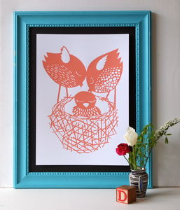 New Baby In The Nest Screen Print - children's room