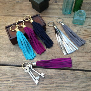 Handmade Suede Tassel Key Ring - gifts for her