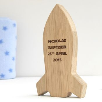 Personalised Baptism Space Rocket Oak Keepsake